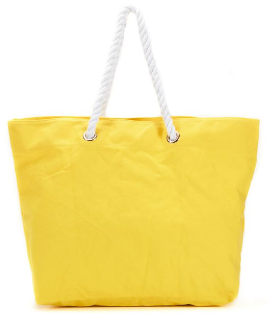 "TRINA TURK Yellow Canvas ""Sunshine And Saltwater"" Beach Tote"