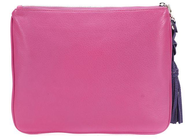 TRINA TURK Pink Leather Tassel Pouch Clutch