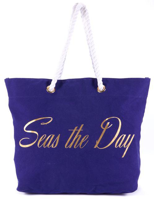 TRINA TURK Navy Blue White Seas The Day Text Large Tote Bag
