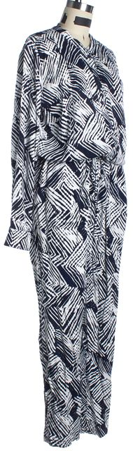 TRINA TURK Black and White Abstract Long Sleeve Botton-Up Jumpsuit