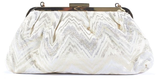 TRINA TURK Gold and White Abstract Zig Zag Clutch