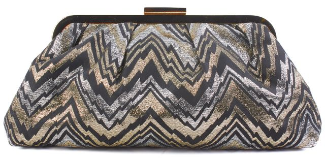 TRINA TURK Black and Gold Abstract Zig Zag Clutch