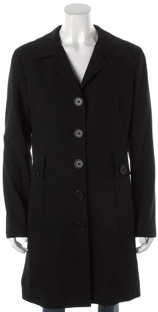 TRINA TURK Black Five Button Basic Coat