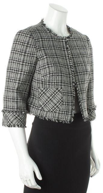 TRINA TURK Black White Fringed Trim Cropped Checkered Blazer