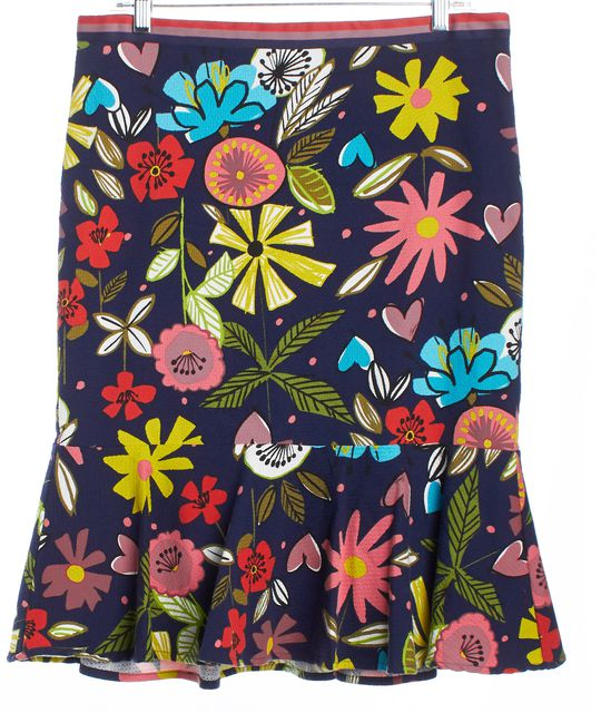 TRINA TURK Multi-color Floral Abstract Trumpet Skirt
