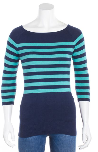 TRINA TURK Navy Blue Teal Long Sleeve Striped Pull On Boat Neck Sweater