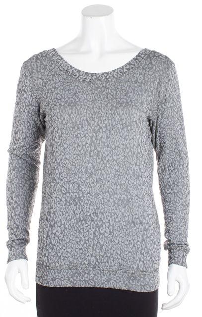 TRINA TURK Gray Black White long Sleeve Cheetah Print V-Neck Sweater