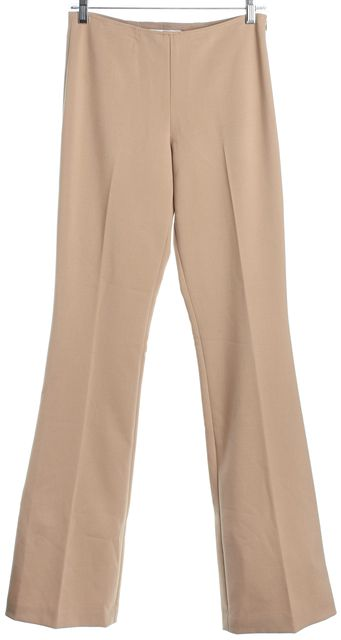 TRINA TURK Tan High-Waisted Flare Dress Pants