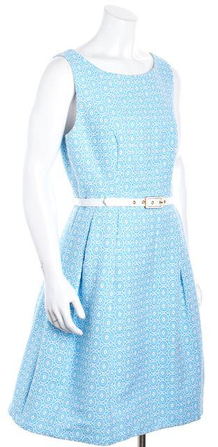 TRINA TURK Sky Blue Geometric Pleated Sleeveless Belted Sheath Dress