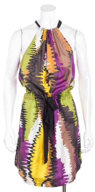 TRINA TURK Multi-color Abstract Print Drawstring Silk Shift Dress