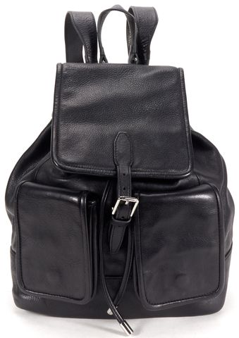 THEYSKENS' THEORY Black Leather Drawstring Backpack