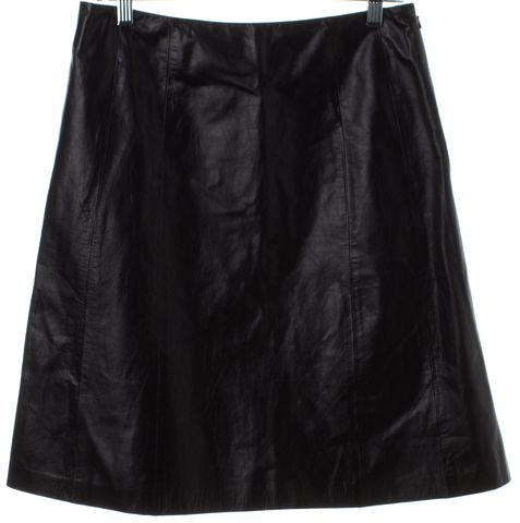 THEYSKENS' THEORY Black Leather Straight Skirt
