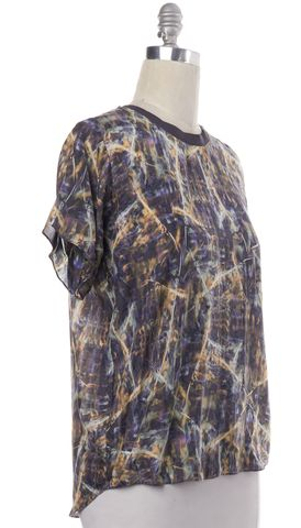 THEYSKENS' THEORY Gray Abstract Silk Blouse Top