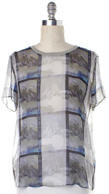 THEYSKENS' THEORY Gray Blue Sheer Silk Top
