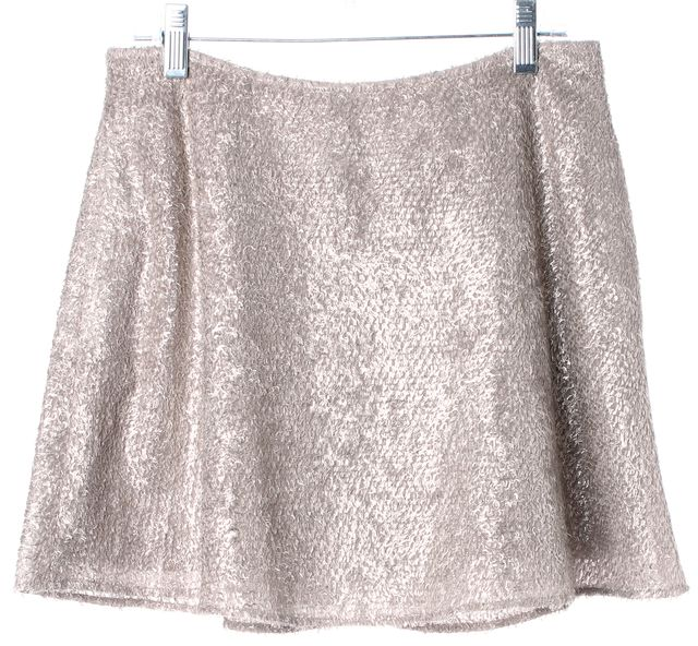 THEYSKENS' THEORY Metallic Beige Textured Stavros A-Line Skirt