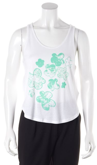 THEYSKENS' THEORY White Green Floral Graphic Fiola Tank Top