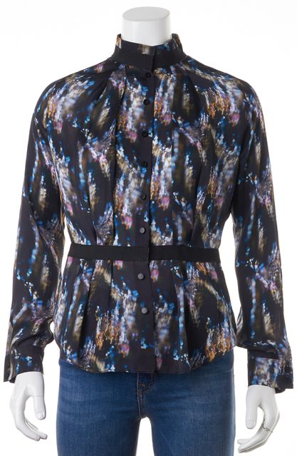 THEYSKENS' THEORY Black Blue Pink Brown Silk Bima Button From Blouse Top