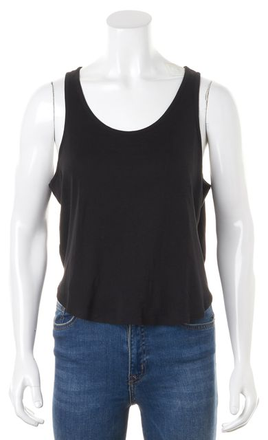 THEYSKENS' THEORY Solid Black Jersey Basic Sleeveless Tank Top