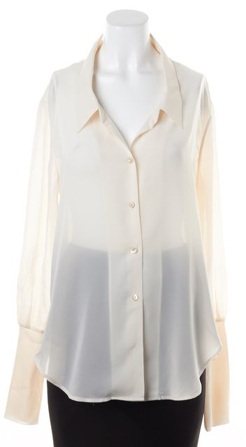 THEYSKENS' THEORY Ivory Sheer Silk Deep Neck Button Up Blouse