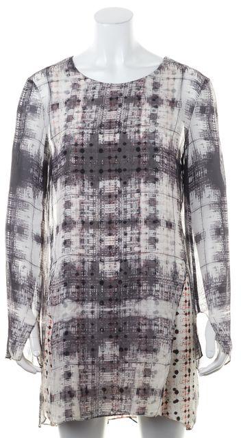 THEYSKENS' THEORY Gray Sheer Abstract Print Long Sleeve Silk Shift Dress