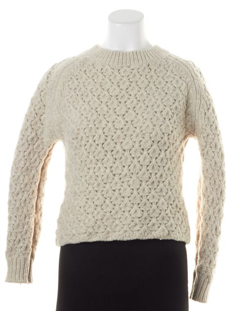 THEYSKENS' THEORY Ivory Merino Wool Kisha Cropped Crewneck Sweater