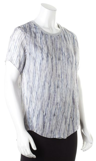 THEYSKENS' THEORY Blue Gray Abstract Silk Sheer Baim Blouse
