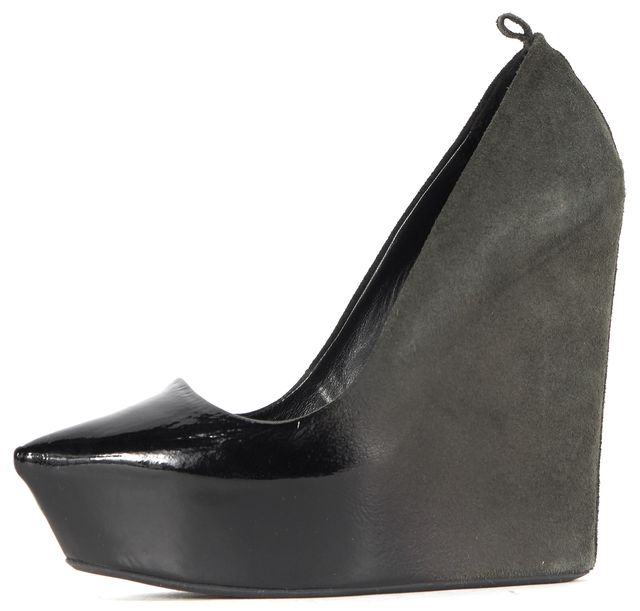 THEYSKENS' THEORY Black Green Suede Patent Leather Trim Wedges
