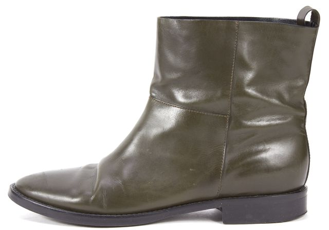 THEYSKENS' THEORY Olive Green Leather Flat Ankle Boots