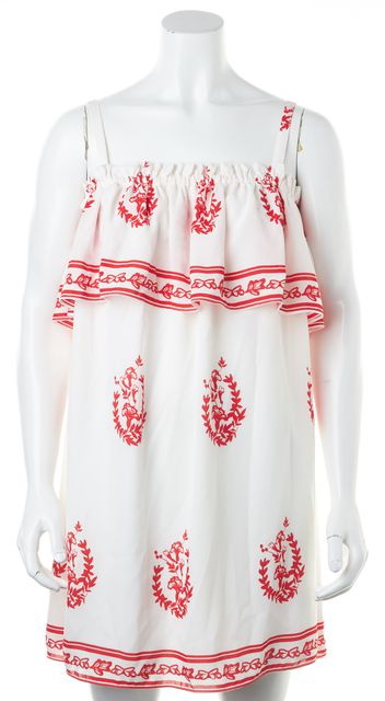 TULAROSA White Red Abstract Spaghetti Strap Summer Sundress
