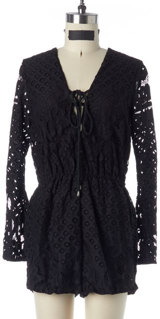 TULAROSA Black Lace Tie-Up Front V-Neck Long Sleeve Romper