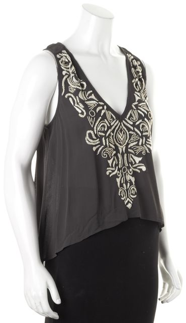 TULAROSA Gray Ivory Bead Embellished Sleeveless Blouse