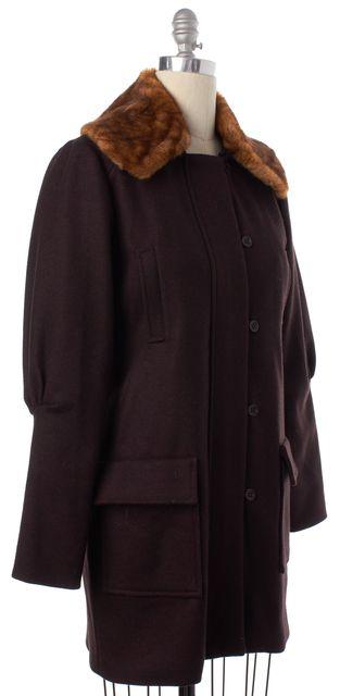ULLA JOHNSON Burgundy Wool Button Down Faux Fur Long Coat
