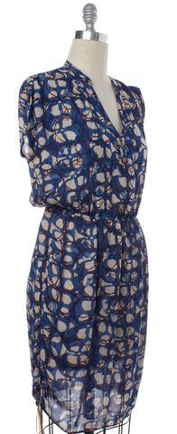 ULLA JOHNSON Blue Red Printed Silk Blouson Dress