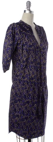 ULLA JOHNSON Purple Floral Printed Drawstring Waist Blouson Dress