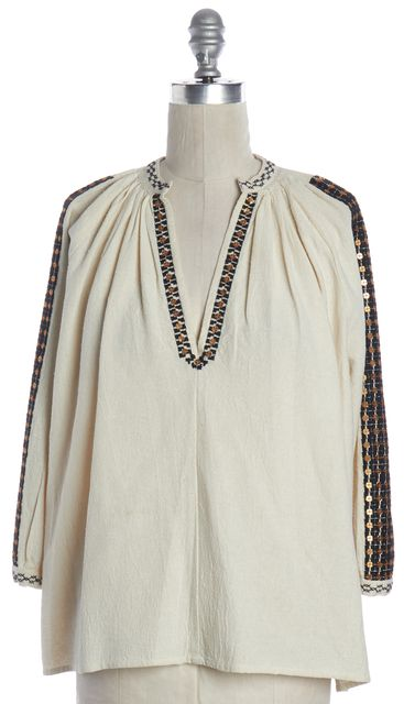 ULLA JOHNSON Ivory Sequin Embellished Black Embroidered Silk Top