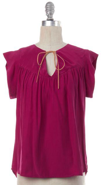 ULLA JOHNSON Pink Silk Blouse Top