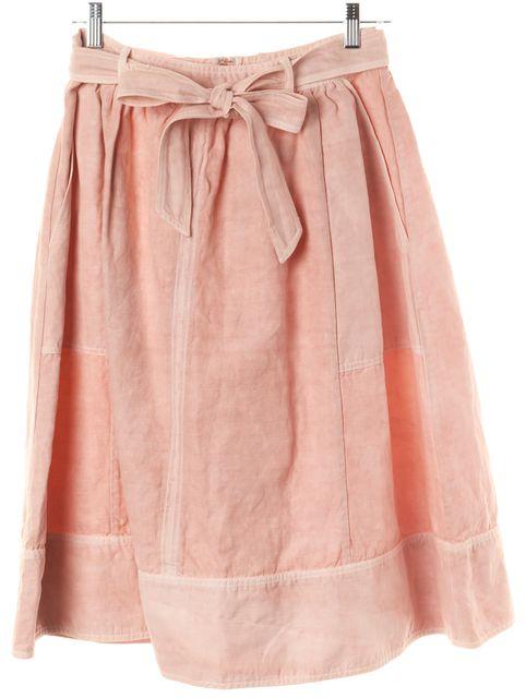 ULLA JOHNSON Pink Peach Belt Bowtie Cotton Celeste A-Line Skirt