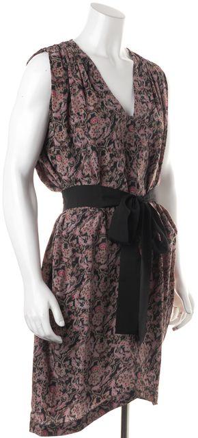 ULLA JOHNSON Gray Black Multi Brocade Floral Waist Tie Silk Blouson Dress