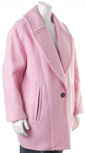 ULLA JOHNSON Soft Pink Wool Single Button Basic Coat