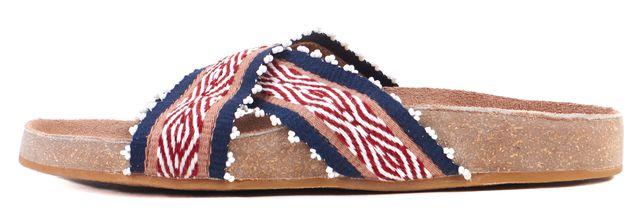 ULLA JOHNSON Beige Red Navy Embroidered Barbette Slide Sandals
