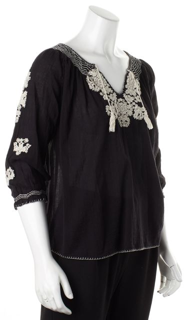 ULLA JOHNSON Black White Cotton Floral Embroidered Peasant Blouse Top