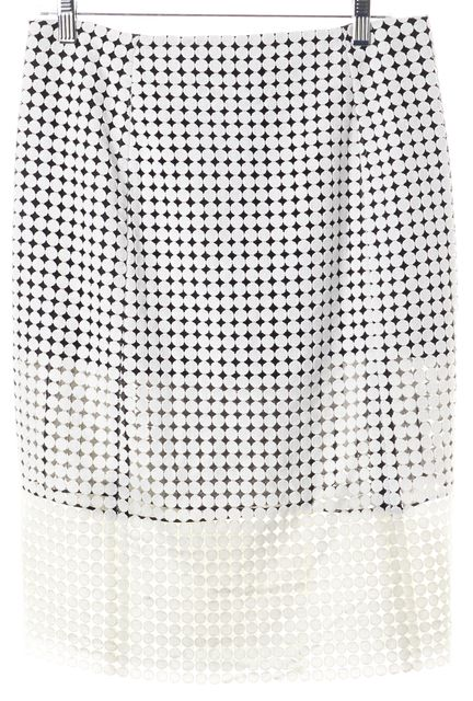 VICTORIA BECKHAM JEANS White Black Geometric Wrap Skirt US 6