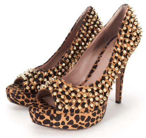 VINCE CAMUTO Brown Gold Studded Calf Hair Peeptoe Heels