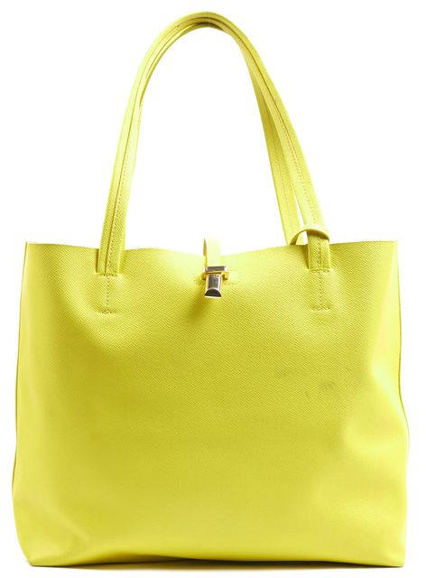 VINCE CAMUTO Neon Yellow Textured Leather Medium Top Handle Tote