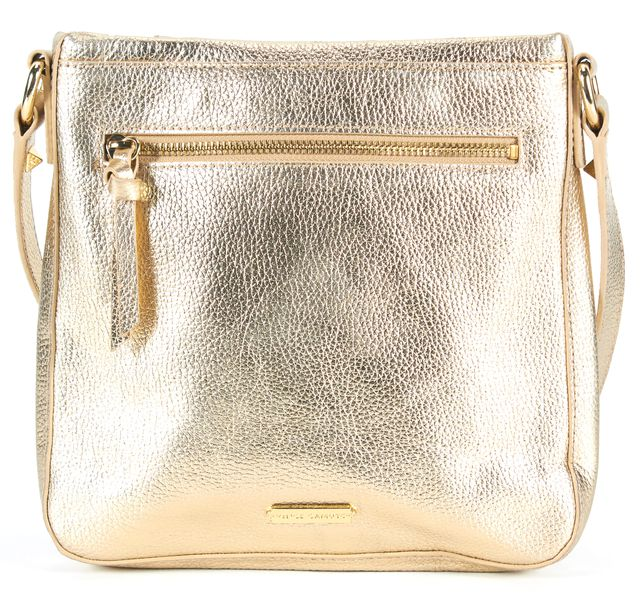 VINCE CAMUTO Gold Pebbled Leather Studded Adjustable Strap Crossbody