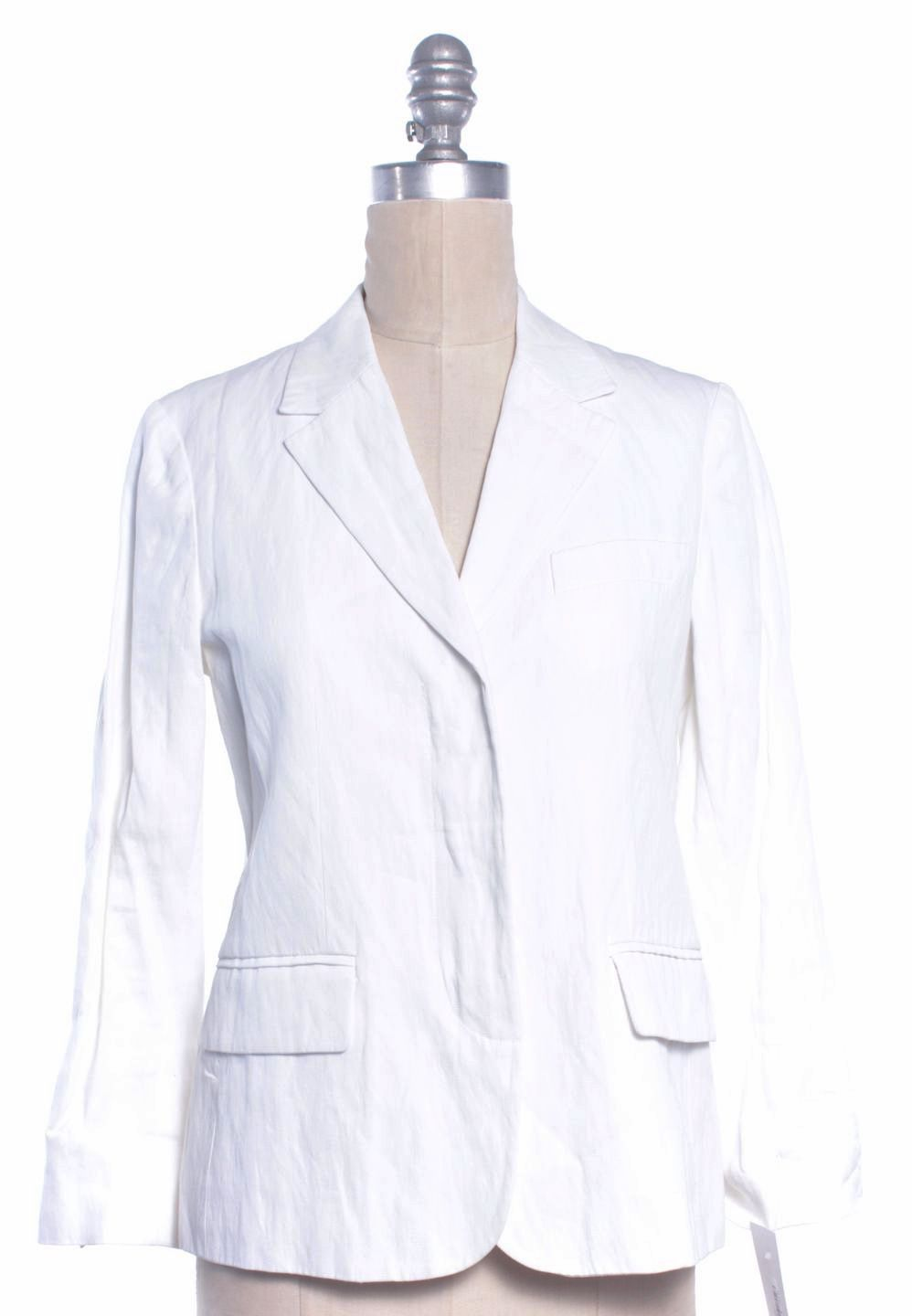 Vince White Cotton Crinkle Hidden Closure Casual Summer Blazer ...