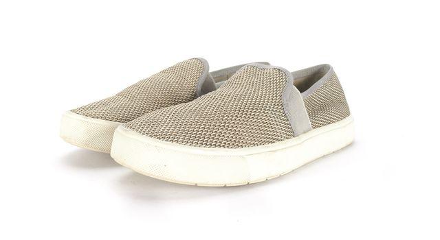 VINCE Beige Blair Woven Canvas Slip-On Sneakers