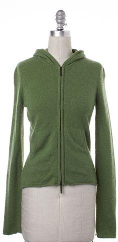 VINCE Green Cashmere Sweatshirt Hoodie Jacket