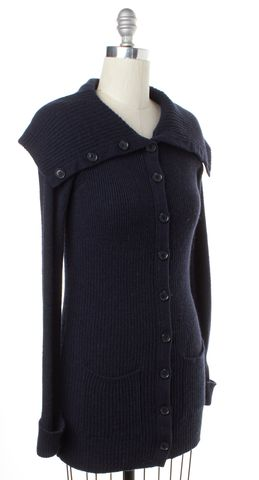 VINCE Blue Wool Button Down Long Sleeve Knit Cardigan