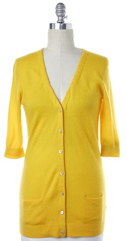 VINCE Yellow Cashmere Knit Short Sleeve Button Down Cardigan